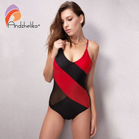 Andzhelika One Piece Swimsuit Women Sexy Mesh Swimwear Black Red Patchwork Beach Swim Suit Sports Bodysuit