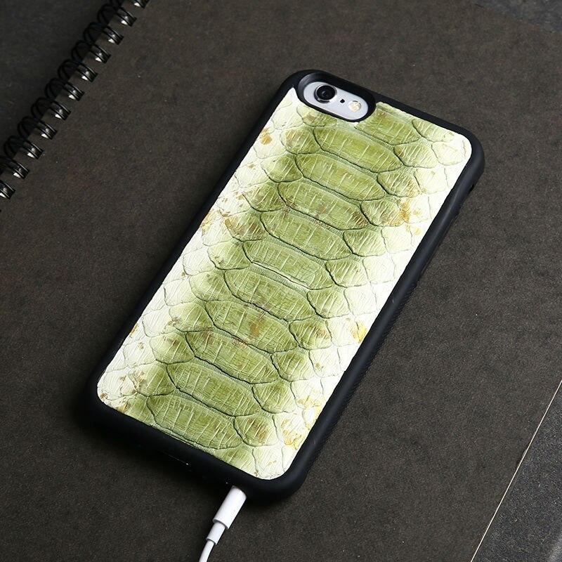 Luxe Véritable Naturel Python Serpent Peau Étui En Cuir Pour Apple iPhone 5  6 6 s dos SOI Couverture Mobile Téléphone Cas Pour iphone 7 plus 15af17980c5