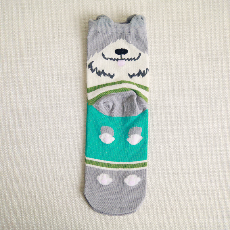 1 Pair Winter Autumn Warm Unisex Men Women Lady 3D Printed Cartoon Animal Print dog Ankle-High Socks short socks