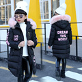 Long Girls Down Coats Russian Winter Thick Warm Children Coats With Fur Hooded Baby Girls Jackets Kids Outwear For Winter SYHBB5