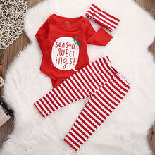 1sets/lot Girls baby jumpsuits & rompers cotton newborn wholesale long sleeve baby panties headband baby sets Christmas set