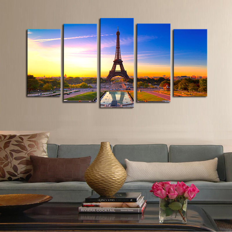 Unframed 5 panels Eiffel Tower Modern Home Wall Decor Painting ...