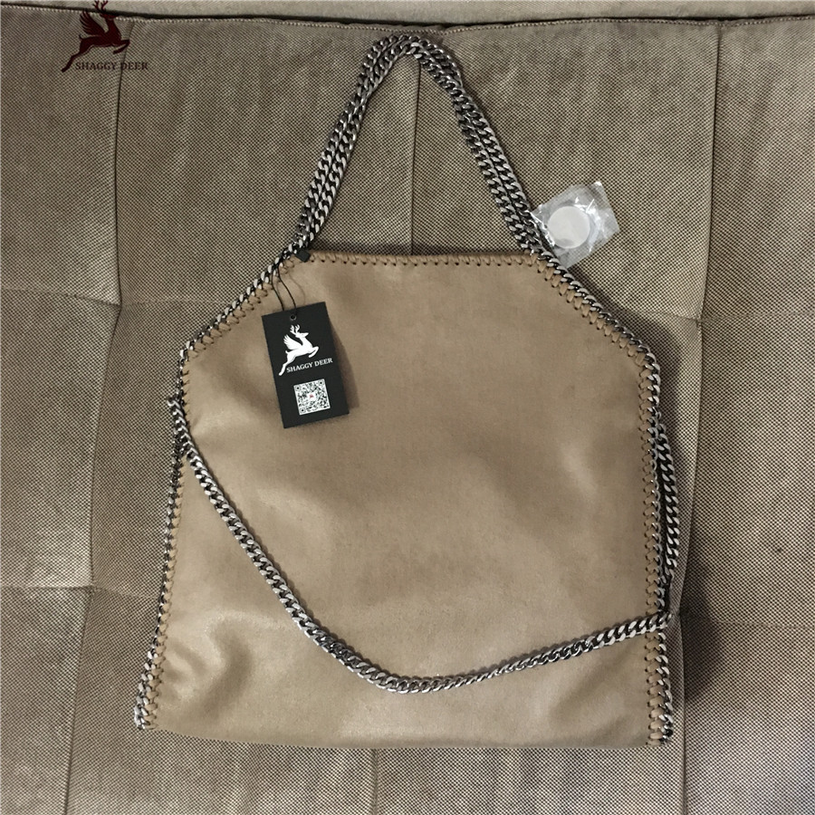 Kaki Color Shaggy Deer PVC 3 Chain Luxury Fold Over Stella Tote Bag real picture Qality Large Capacity Shoulder Chain Bag