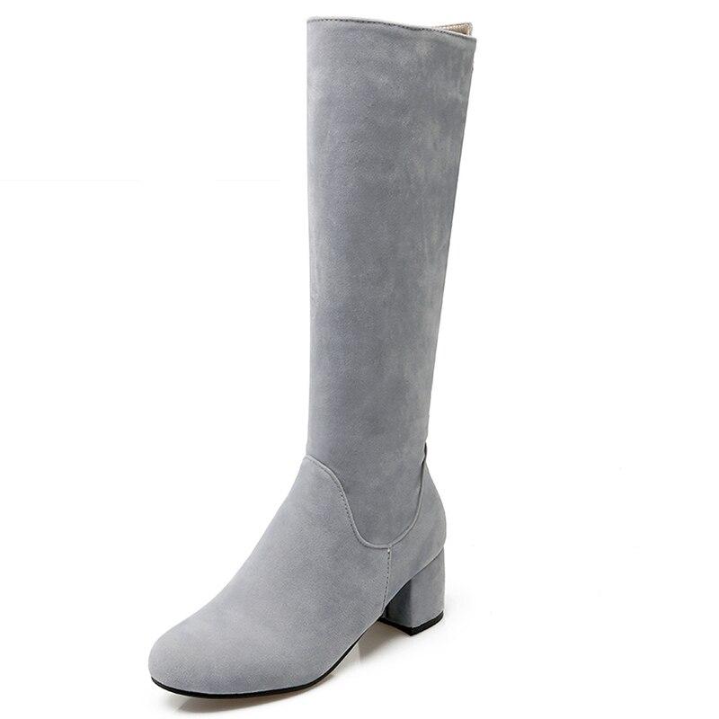 Big Size 34 43 Nubuck Knee Boots Women s Autumn Winter Shoes Thick Heels 2016 Fashion