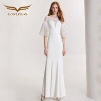 Coniefox 32150 пикантные белые модные пикантные Cap Русалка дамы ретро элегантность аппликации платья для выпускного вечера праздничное вечернее