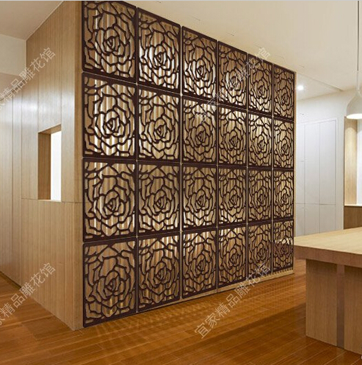 High Quality Wooden Room Divider Carved High Quality Rose Style Wood Panel Folding Screen  Cheap Folding Screen Paravent