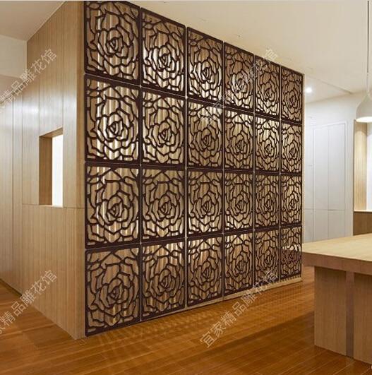 tabique de madera tallado de alta calidad rose estilo panel de madera biombo biombo baratos paravent