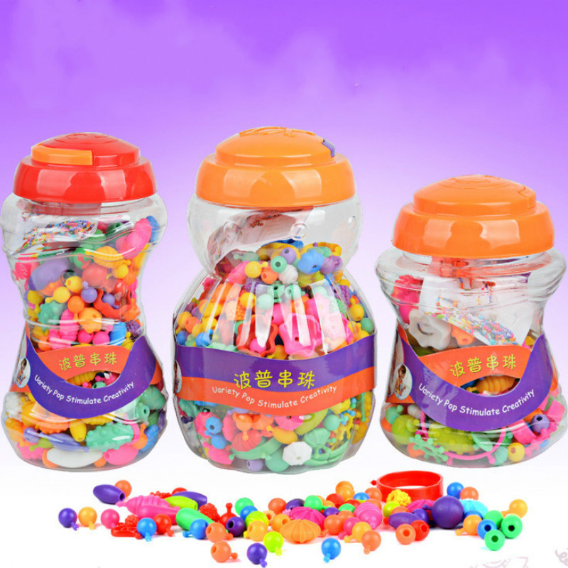 Colorful Beads Toys For Kids DIY Bracelet Ring Jewelry Toys Making Beads Kit Educational 3D Puzzle Toys Girls Gift