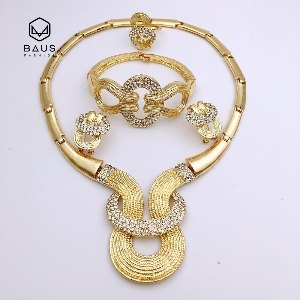 Bridal gift big Nigeria jewelry sets parure bijoux femme Dubai gold-color jewelry sets African Pearl Ethiopian wedding design