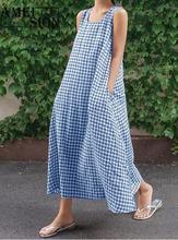 Ameision Summer Dress 2019 Women's Vintage Check Sun dress Plaid Long Maxi Sleeveless Party Dresses Vestido Robe Femme check plaid circle dress