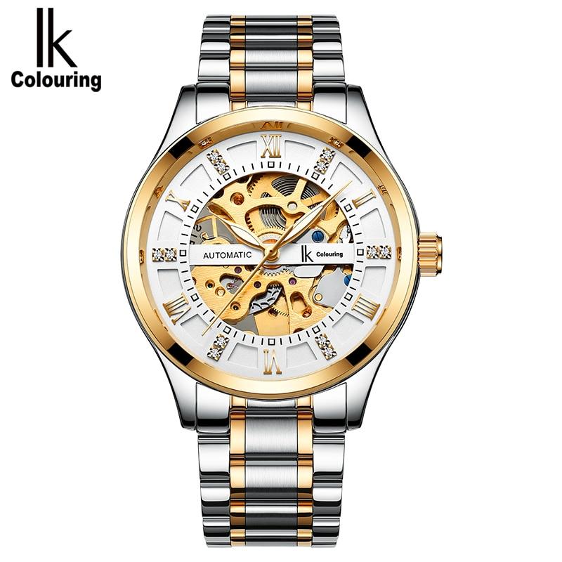 IK colouring Luxury Men Mechanical Watch Automatic Self Wind Man Watches Skeleton Luminous Wrsitwathches Horloges Mannen Montre цена