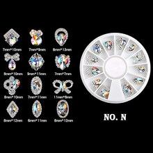 6 Styles Colorful AB Rhinestone Nail Art Decoration Heart Bow Tie Triangle Design Beauty DIY Decorations LRV