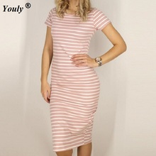 8e1061a5fd2 Women Casual Summer Dress Short Sleeve O-Neck Bodycon Dress Striped Side  Split T Shirt