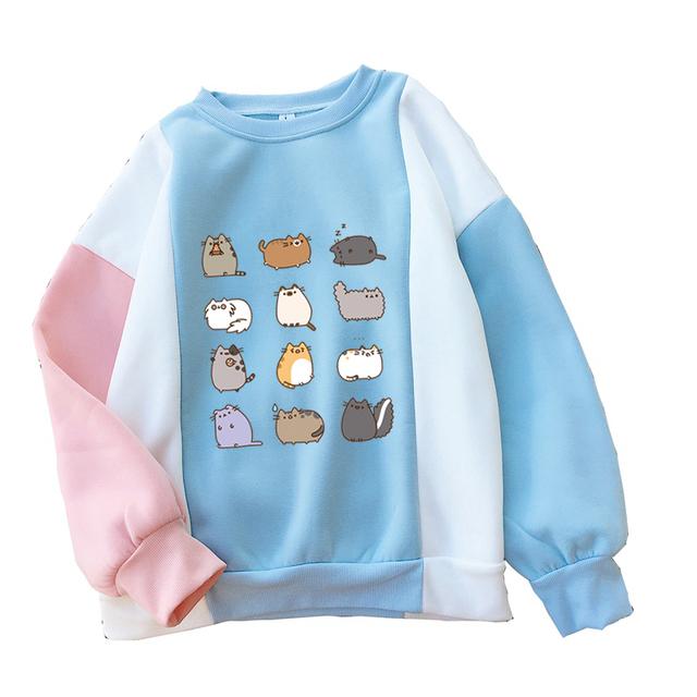 2018 Fashion Color Block Splicing Hoodies Women Kawaii Cartoon Fat Cat Sweatshirt Casual Harajuku Raglan Fleece Jumper Pullovers
