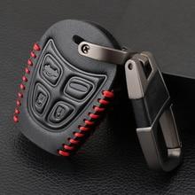 Funda de cuero auténtico para llave de coche, estuche para mando a distancia con 4 botones, funda para llavero para SAAB 9 3 93 2006 2012, funda de llave de coche