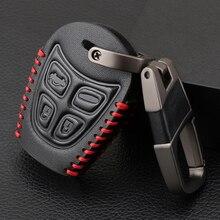 Prawdziwej skóry obudowa kluczyka do samochodu Car Styling 4 przycisk pokrywa breloczka z pilotem dla SAAB 9 3 93 2003 2009 brelok torba na klucze samochodowe