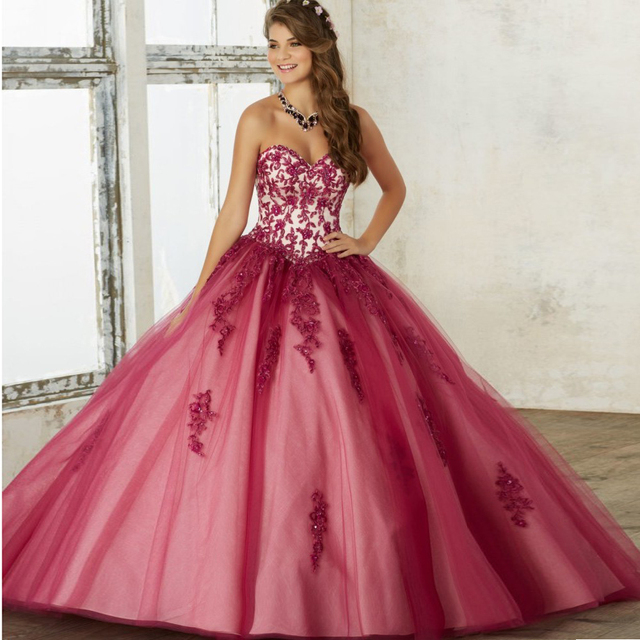 9e45d50cc Modern Cherry Quinceanera Dresses Embroidery Appliqued Bolero Debutante  Ball Gown Vestido de 15 nos Sweet 16 Party Dress QD33