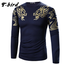 T-Bird 2017 Mens T Shirt Printing Fashion Long Sleeve Cotton T-Shirts Casual O-Neck Tshirt Men Tee Homme High Quality Tees Tops