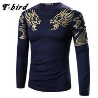 T Bird 2017 Mens T Shirt Printing Fashion Long Sleeve Cotton T Shirts Casual O Neck
