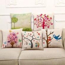 High Quality Pillow Covers Creative Cute Cartoon pattern Fashion Style45X45CM Linen Pillow CoverHome Decorative cushion case
