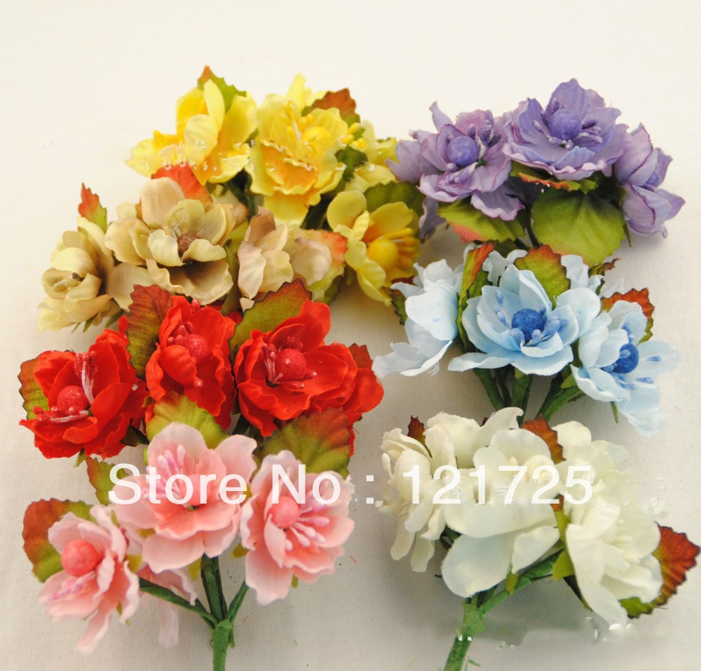Free Shipping Fabric Flower With Leaves Accessories Handmade