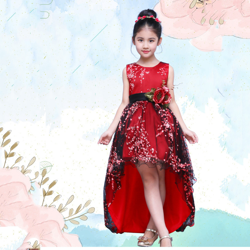 Girls Princess Girls Ball Gown Dress Long Trailing Red Embroidery Floral Girl's Evening dress with Belt Wedding Dress plus size floral embroidery tee dress with pockets