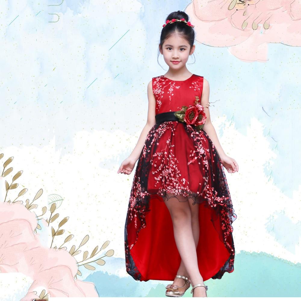цена на Girls Princess Girls Ball Gown Dress Long Trailing Red Embroidery Floral Girl's Evening dress with Belt Wedding Dress