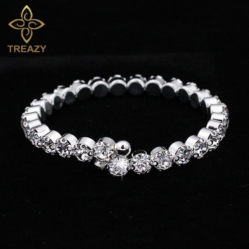 TREAZY New Bridal Crystal Bracelets & Bangles Silver Plated Diamante Rhinestone Cuff Bracelet for Women Party Wedding Jewelry