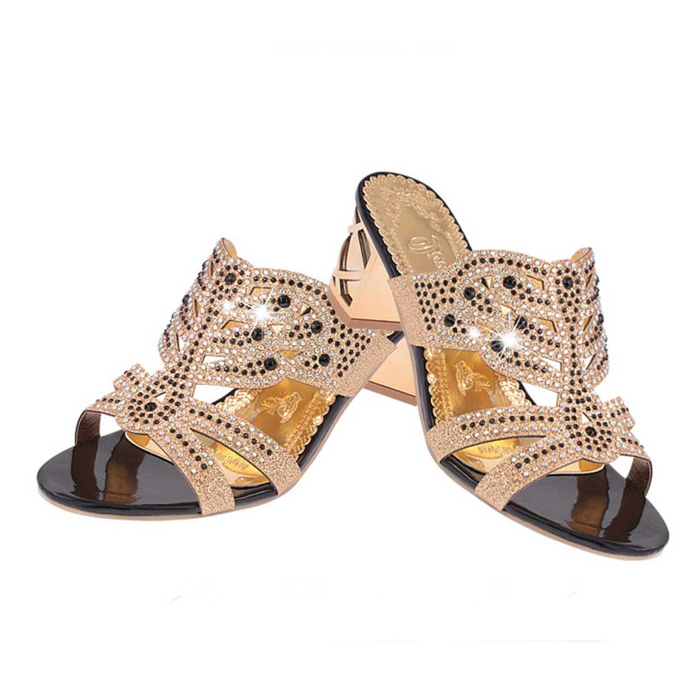 HTB10 QIjOCYBuNkHFCcq6AHtVXao SAGACE 2018 Summer Open Toe Chunky Heels Women Sandals Leather Rhinestones Party Shoes Girls Crystals Casual Beach Flip Flops