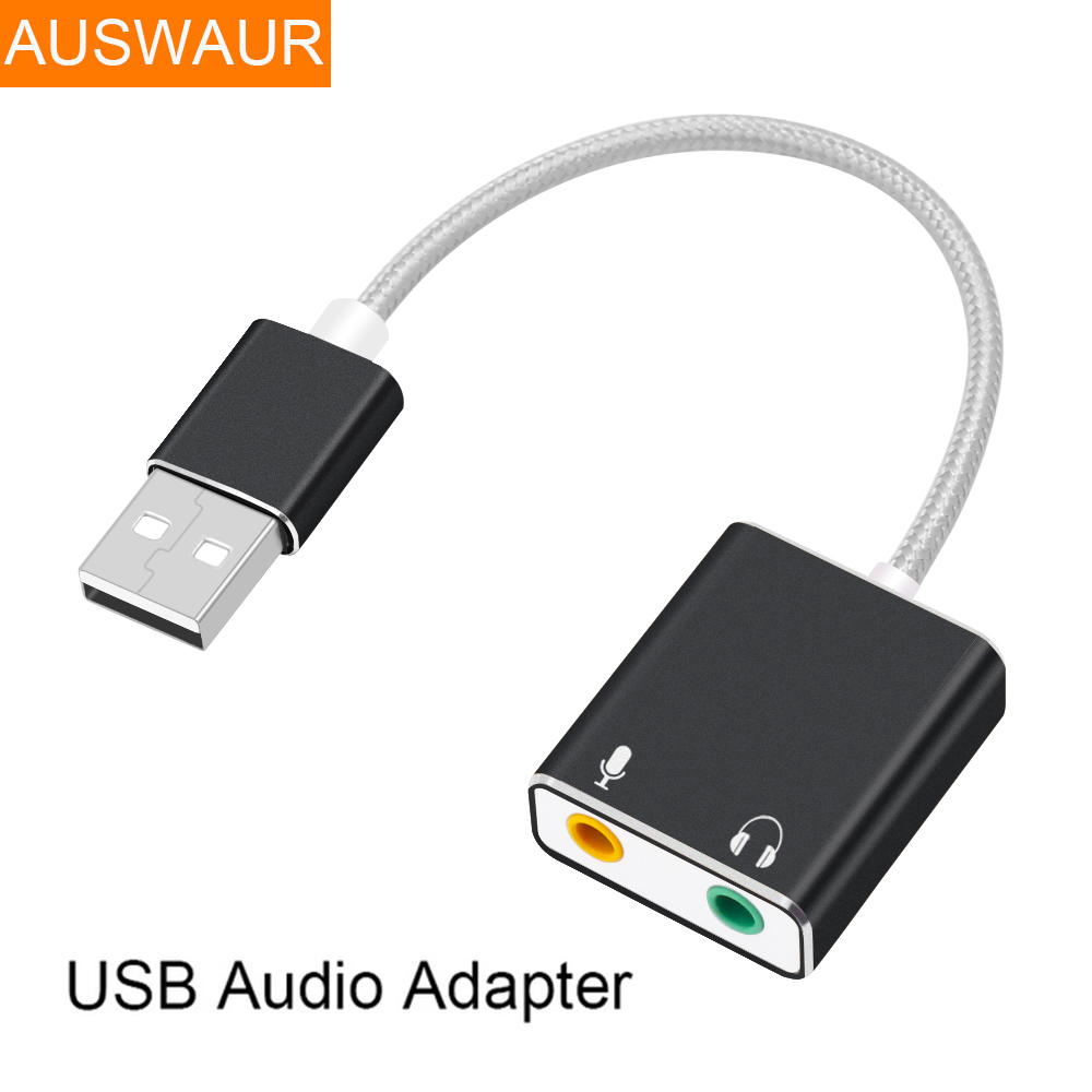 External USB Sound Card 3.5MM USB Aux Microphone Audio Adapter For Notebook Computer