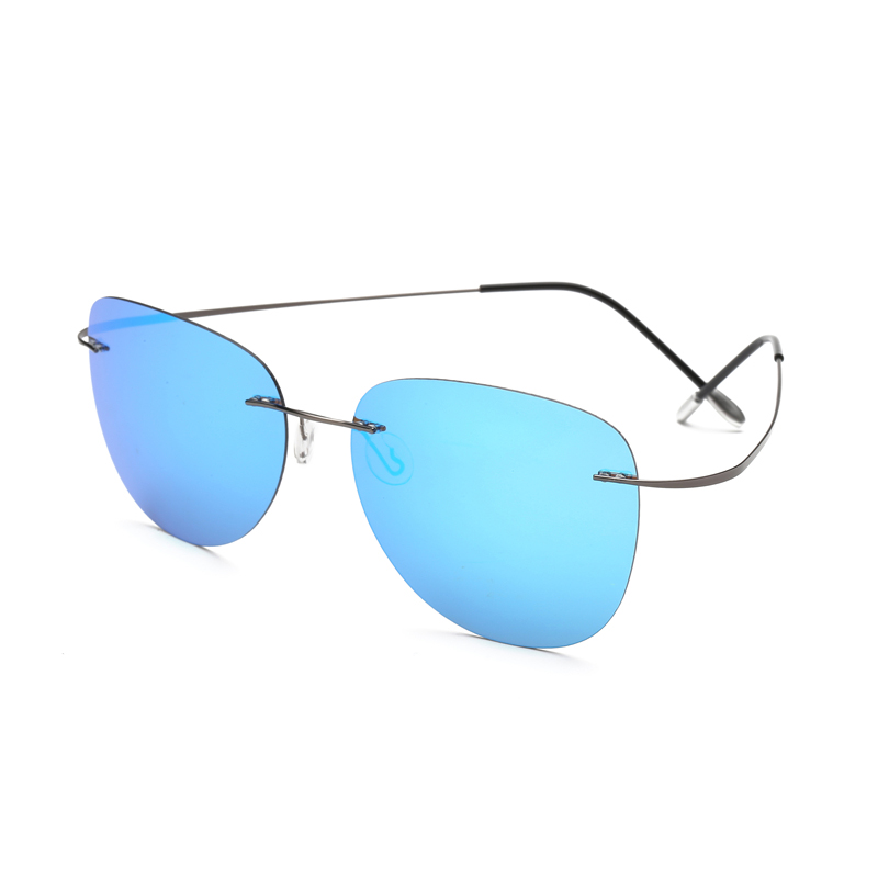 With case Polarized Titanium Silhouette sunglasses Polaroid Brand Designer Rimless Gafas Men Sun glasses sunglasses for men