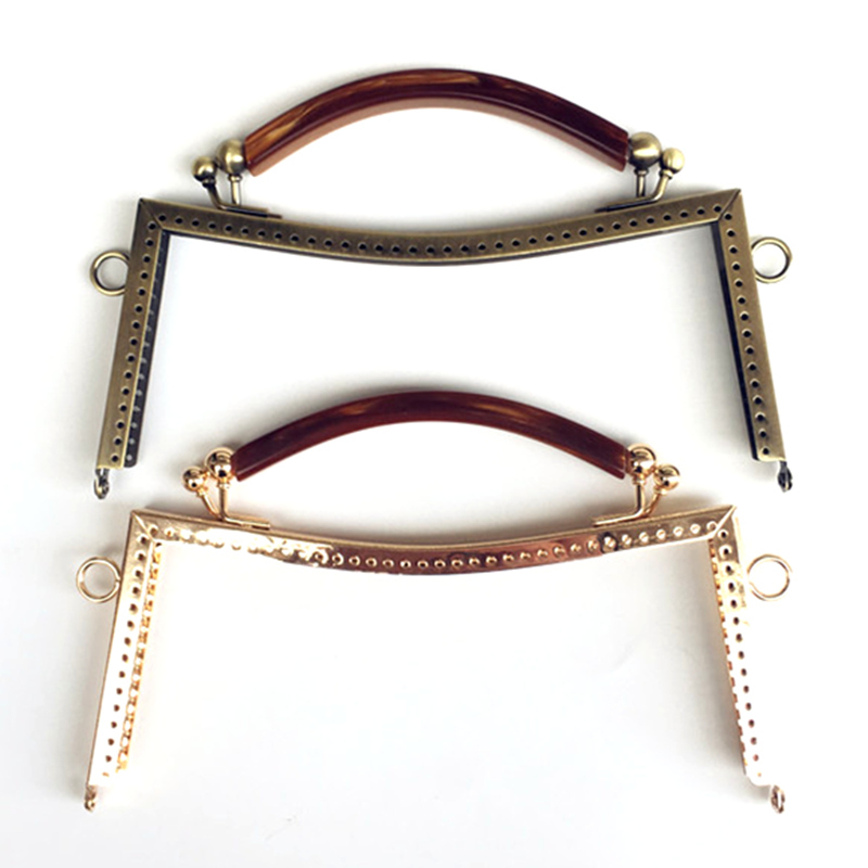 1Pc Plastic Handle Metal Smooth Frame Kiss Clasps Lock Buckles Purse Bag Handbag Handle Accessories 20.5cm