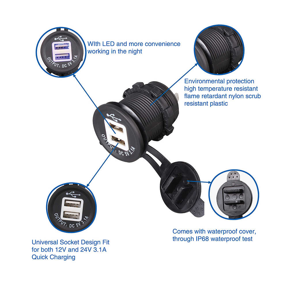 1 Piece Blue LED 5V 3.1A Car Cigarette Lighter USB Charger With High Quality Wire Harness Dual USB Car Cigarette Lighter Socket