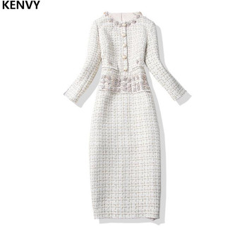 712adbf045 KENVY Marca High-end Da Moda de Luxo Primavera Outono Diamante Longo Vestido  De Lã Do Vintage das Mulheres