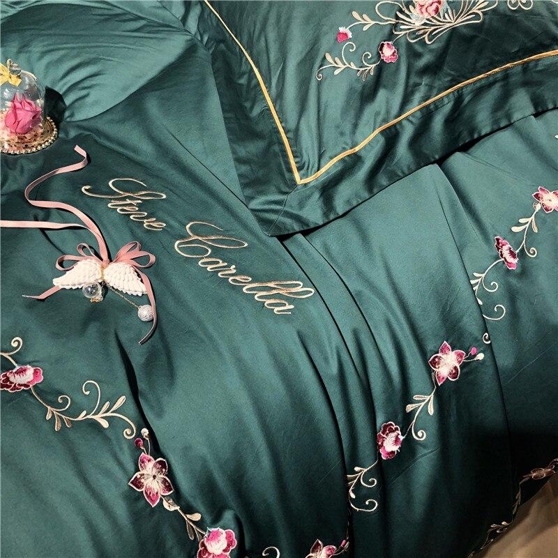 Queen ชุดเครื่องนอนหรูสีเขียวอียิปต์ผ้าคลุมเตียงผ้าฝ้าย/แผ่นติดตั้งปลอกหมอน gropa de cama/ linge de lit-ใน ชุดเครื่องนอน จาก บ้านและสวน บน   2