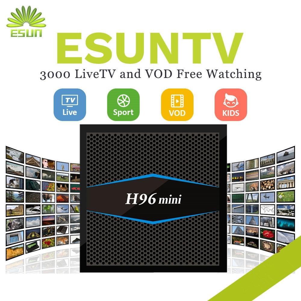1 año IPTV incluido H96MINI 2G16G S905X TV Box ESUNTV Europa Italia España Portugal Alemania Albania EX YU xxx IPTV Set caja superior