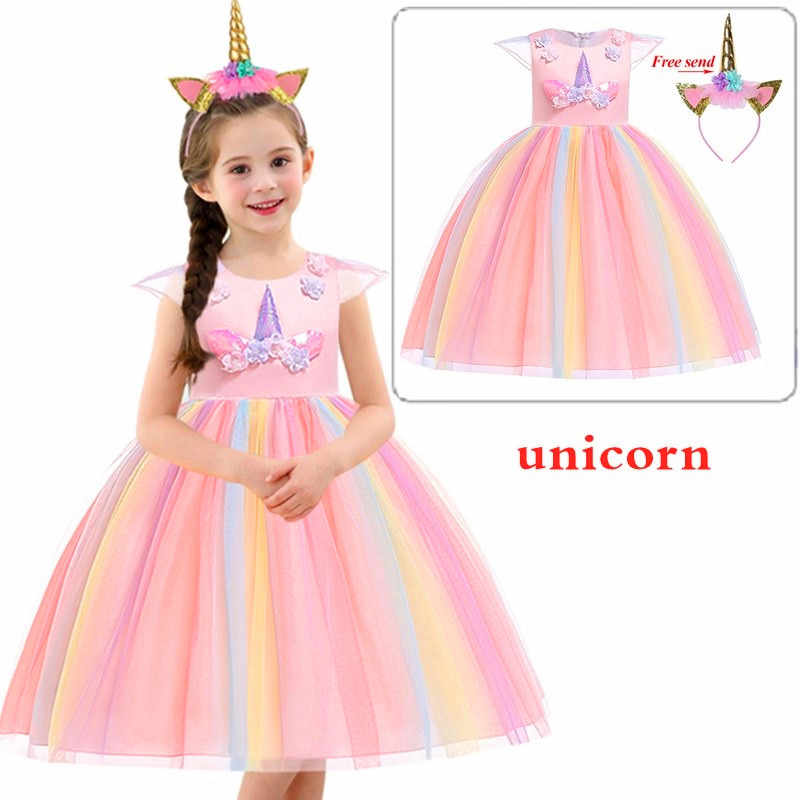 2019 Vestido De Fiesta De Princesa Vestido De Fiesta De Unicornio Para Niñas Vestidos Elegantes De Boda Para Niñas Vestidos Fantasía Infantil