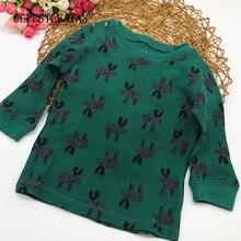 Футболка для девочек, футболка для девочек топы с длинными рукавами для маленьких мальчиков и девочек, одежда для новорожденных девочек 1 шт./лот, D-CTS-002-1P