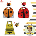 L27* Boys&Girls ladybird bee animal cape&special hat for kids birthday costumes Christmas gift school concert Home party
