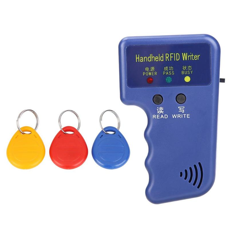 Handheld 125KHz RFID Duplicator Key Copier Reader Writer ID Card Programmer Reader + T5577 EM4305 Rewritable ID Keyfobs Tags Car
