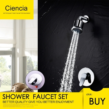 Free Shipping Shower Faucet Set with Shower Arm and 5 Spray Shower Head Brass Shower Trim Kit with Universal Rough-In Valve