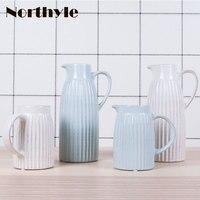 Europe vintage ceramic vase white flower vase home decoration blue porcelain vase wedding decoration floor vase flower bottle
