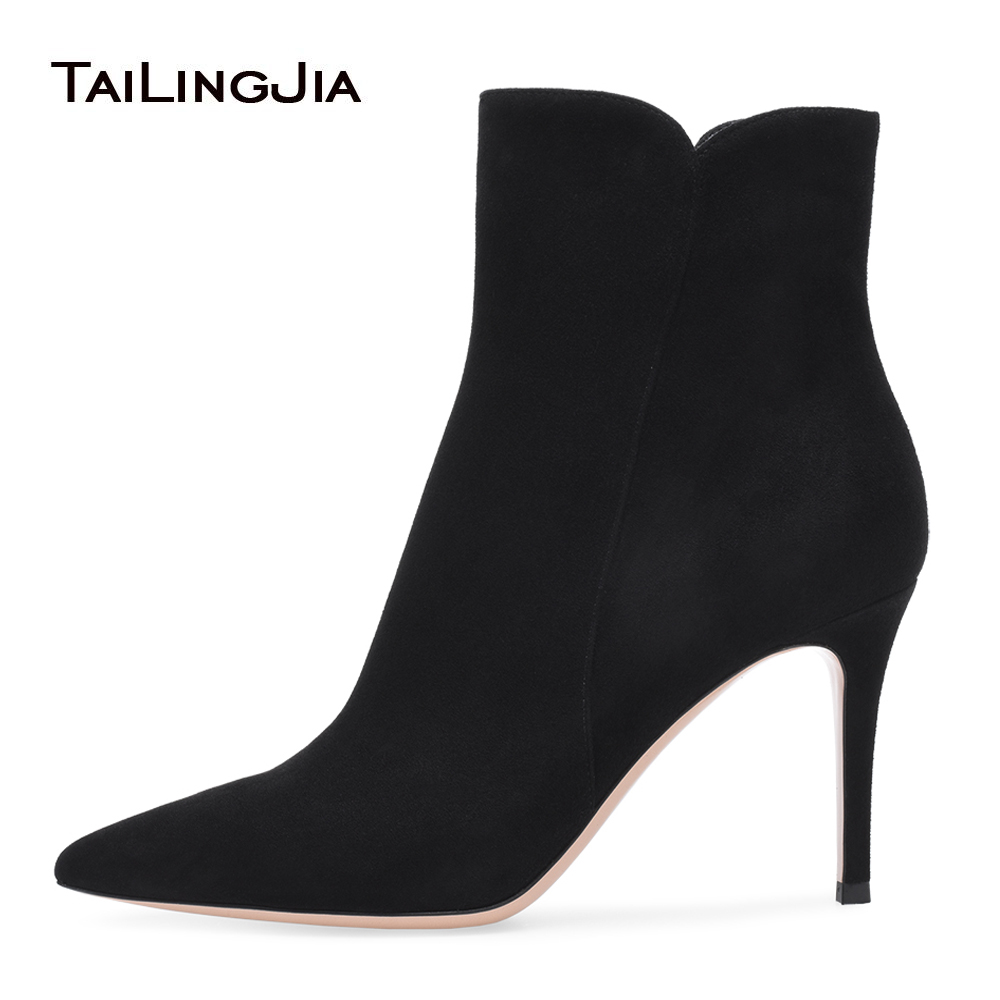 Women Pointy Black Faux Suede High Heel Ankle Boots with Zipper Dark Green Heeled Booties Blue Boots Grey Heels Ladies Shoes faux fur heeled ankle boots