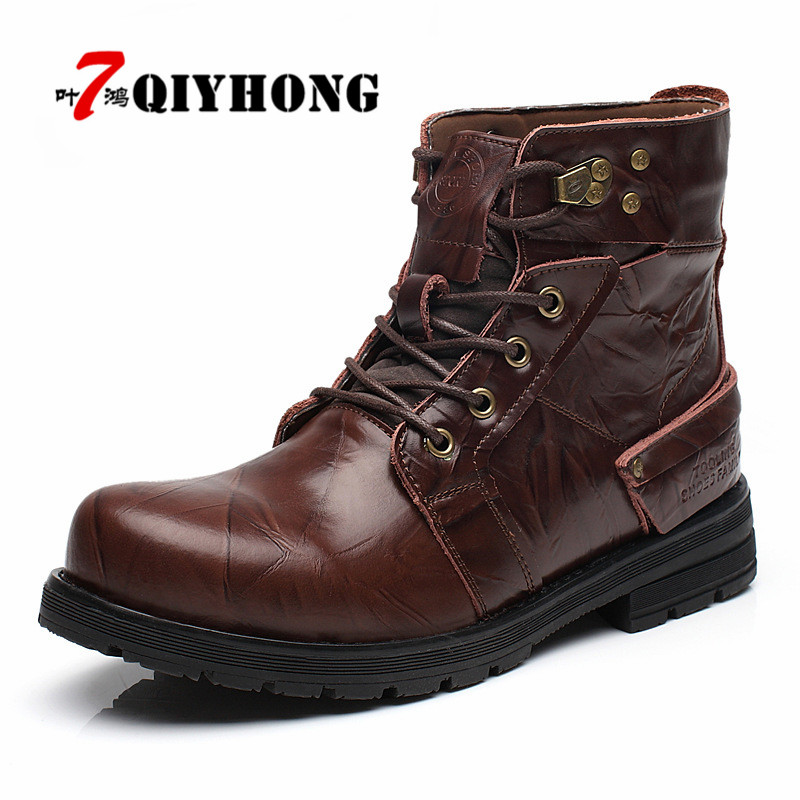 QIYHONG Brand Waterproof Winter Warm Snow Boots Men Cow Split Leather Motorcycle Ankle Fashion High Cut Male Casual Clearance northmarch brand ankle snow boots men shoes genuine leather winter fashion cow motocycle casual boot male high top flat botas