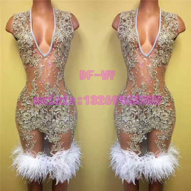 Female DJ sexy perspective skin colour rhinestone ostrich feather  sleeveless dress skirt suit bars nightclubs holiday party stag 35daf7bd5fa9
