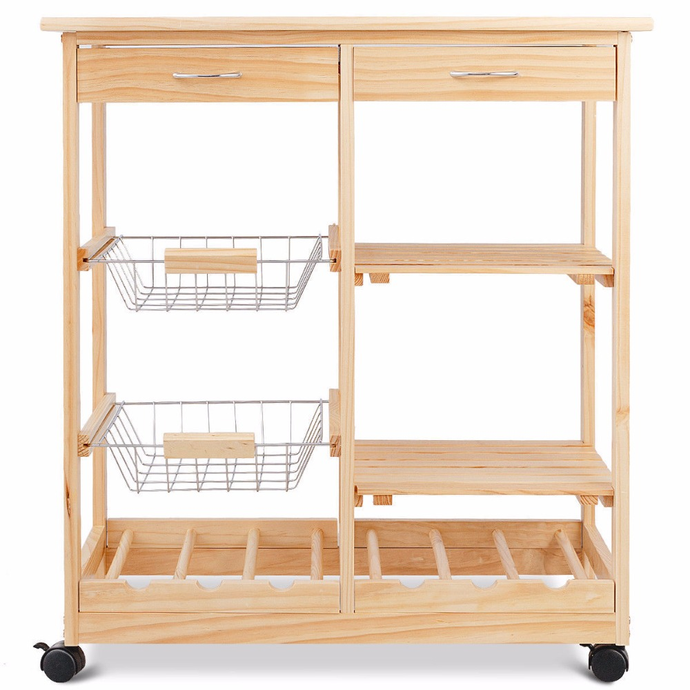 Goplus Rolling Wood Kitchen Trolley Cart Island Shelf w/ Storage Drawers Baskets New HW58491NA 7