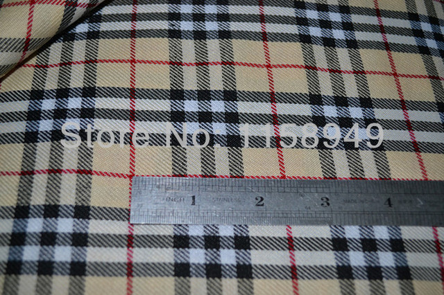 TARTAN STEWART POLY COTTON SCOTTISH BEIGE RED PLAID FABRIC CLOTH - PER  METRE - NEW FREE SHIPPING 6ddc623b2e63