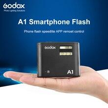 Godox A1 Smartphone Flash System 2.4G bezprzewodowa lampa błyskowa wyzwalacz lampy błyskowej stałe Led światło z baterią dla iPhone 6s 7 plus