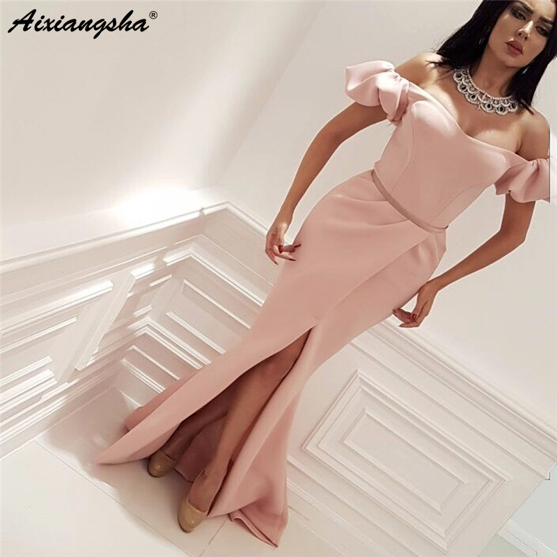 Cap Sleeves Satin Slit Sexy Formal Islamic Dubai Saudi Arabic Long Elegant Evening Gown Mermaid Pink   Prom     Dresses   2019