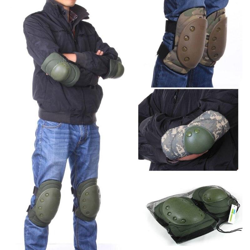 Prix pour 4 pcs Adulte Combat Tactique De Protection Pad Ensemble de Sports De Vitesse Militaire Genou Coude Protecteur Coude Genouillères Ensembles
